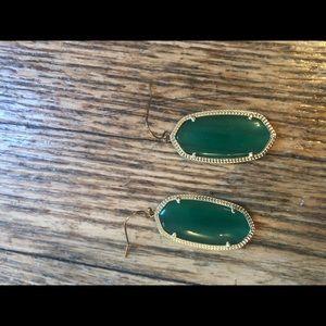 Kendra Scott Ella drop earrings in emerald w/gold